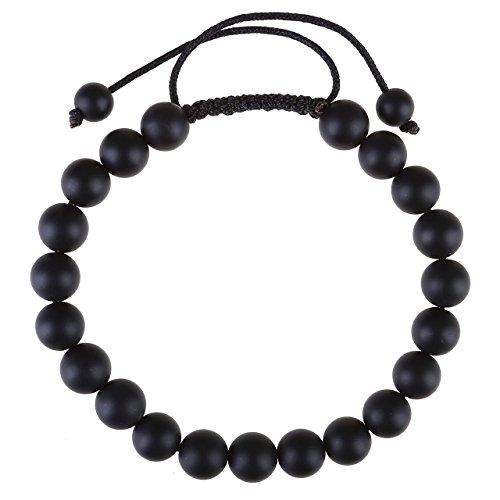 Jovivi 8mm Ethnique Tibétain Bracelet Réglable Pièrre Naturelle Agate Noir Brut - Cordon Trissé et Noeud Chinois - Longueur Ajustable 16.5cm
