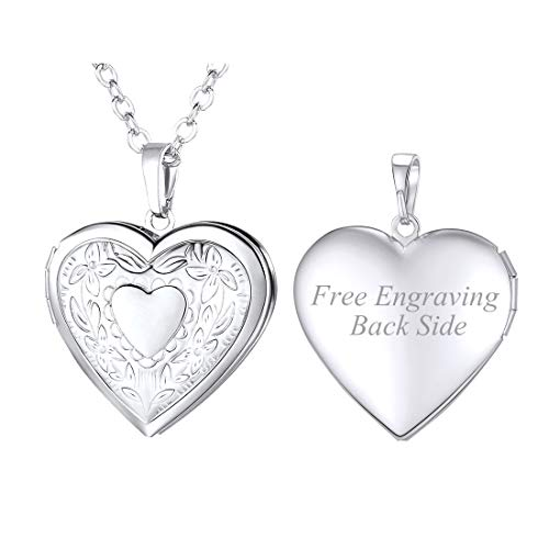 (U7 Flower Heart Photo Locket Necklace Platinum Plated Memorial Photo Pendant for Women Girls, with Engraving Service)