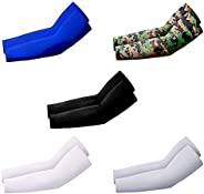 5 Pairs UV Protection Cooling Warmer Arm Sleeves Men Women Kids Sunblock Protective Gloves Running Golf Cyclin