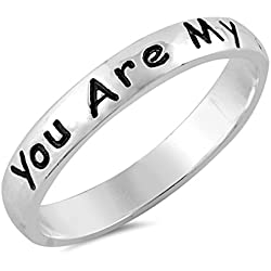 Sterling Silver Women's Song Script You Are My Sunshine Ring (Sizes 4-10) (Ring Size 6)