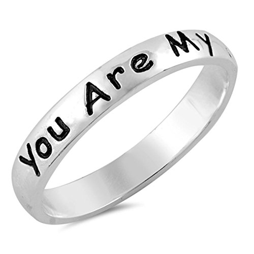 Sterling Silver Women's Song Script You Are My Sunshine Ring (Sizes 4-10) (Ring Size (You Are My Sunshine Ring)