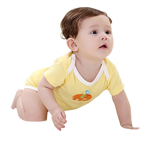 New in Respctful✿Baby Boy Girl Romper Cute Cartoon Cotton Short Sleeve Summer Clothes Outfit Onesie Yellow