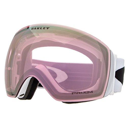 Oakley Men's Flight Deck Snow Goggles, Matte White, Prizm Hi Pink, Large