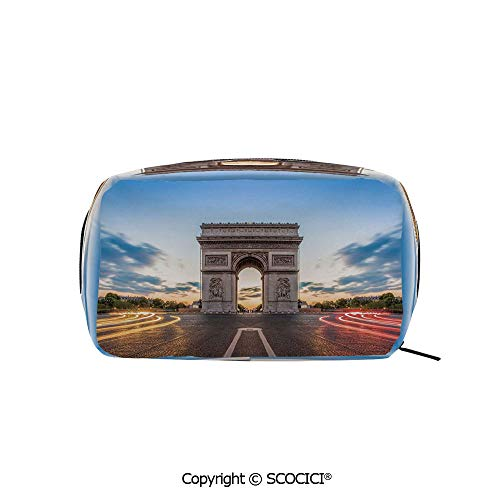 (Rectangle Portable makeup organizer Cosmetic Bags Paris Famous Champs Elysees Avenue Historical Monument French Culture Panorama Printed Storage Bags for Women)