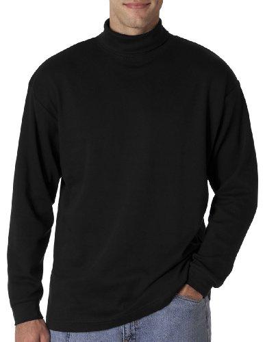 UltraClub Men's Adult Egyptian Interlock Long-Sleeve Turtleneck - Large- Black (Sleeve Ringspun Turtleneck Long)