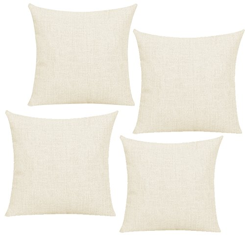 Bosstop Linen Sublimation Blank Pillow Case Fashional Cushion Cover Pillowcase with Invisible Zippers Flax Yellow 18 x 18 Inch, 45 x 45 cm,Set of 4 (CASE ONLY, NO Insert) Make Christmas Decorations