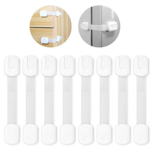 Sandistore 8 PCS Child Safety Cabinet Locks   Baby Proof for Drawers, Stove, Toilet, Refrigerator, Appliances   3M Adhesive   No Drilling   No Tools   Adjustable Length Straps and Latches System