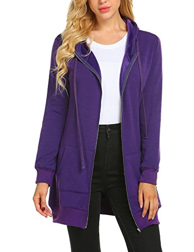 Zeagoo Women's Casual Zip up Hoodies Pockets Tunic Sweatshirt Long Hoodie Outerwear Jacket,Purple,XL ()