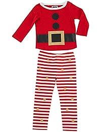 Little Girls' Glitter Santa Pajamas 2-Piece Set