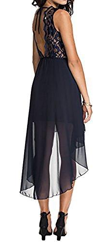 Asymmetrische Abend mit nackten Spitze zurück Kleid - Marineblau -