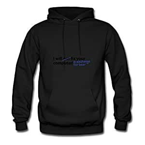 Customized X-large Sweatshirts Black Computer Beer Image Women 100% Cotton S