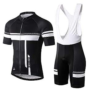 INBIKE Maillot Ciclismo Corto De Verano para Hombre, Ropa Culote Conjunto Traje Culotte Deportivo con 3D Almohadilla De Gel para Bicicleta MTB Ciclista Bici(Blanco,L)