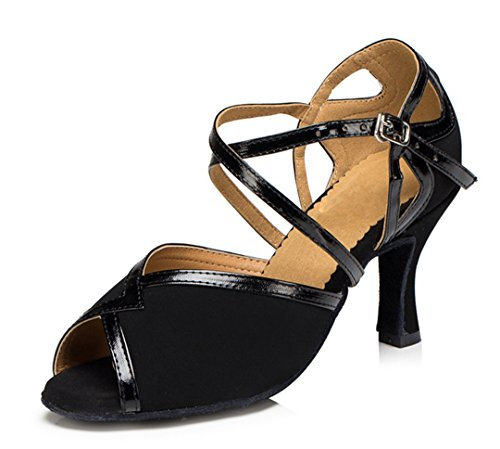 TDA Womens Peep Toe Ankle Strap Suede Classic High Heel Ballroom Latin Dance Shoes Black