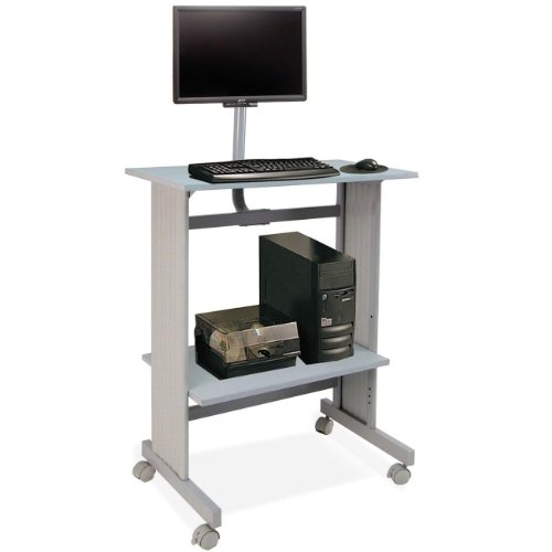 (Buddy Products Stand Up Height Workstation with LCD Mount, 20 x 56 x 29 Inches, Gray)