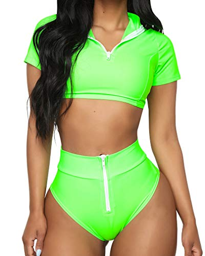 (RUUHEE Women Rash Guard Short Sleeve Bathing Suits High Waist 2 Piece Sporty Bikini (S(US Size)