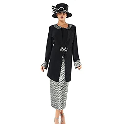 Kueeni Women Church Suits with Hats Church Dress Suit for Ladies Formal Church Clothes Black
