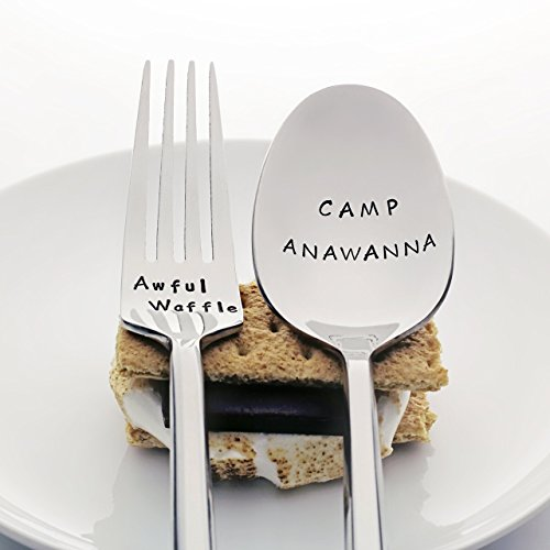 Salute Your Shorts: Awful Waffle / Camp Anawanna - Stainless Steel Stamped Spoon and Fork Set, Stamped Silverware - Nostalgic Gifts for Millennials