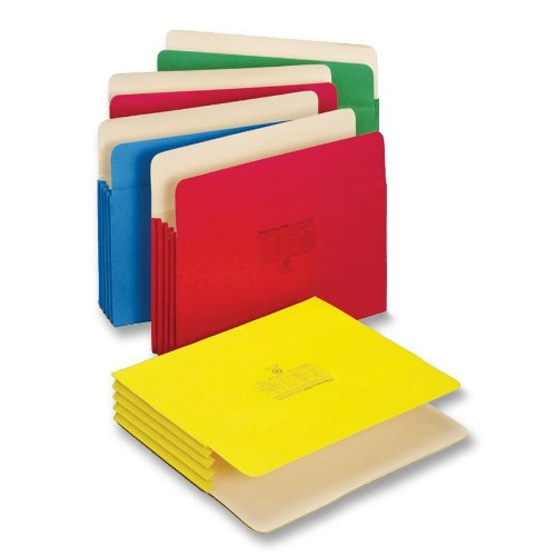[Globe-Weis/Pendaflex Colored File Pockets, Letter Size, 3.5 Inch Expansion, Assorted Colors, 5 Pockets per Pack (1524E5 ASST)] (Expansion File Cabinet Pocket)