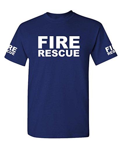 FIRE RESCUE - ems emt emergency service - Mens Cotton T-Shirt, L, (Fire Ems Apparel)