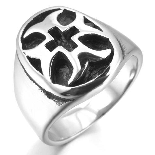 MunkiMix Acier Inoxydable Anneau Bague Ton d'Argent Noir Celtic Celtique Medieval Croix Ovale Homme