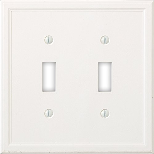 White Toggle Switchplate - Questech Cornice Insulated Decorative Switch Plate/Wall Plate Cover – Made in the USA (Double Toggle, White)