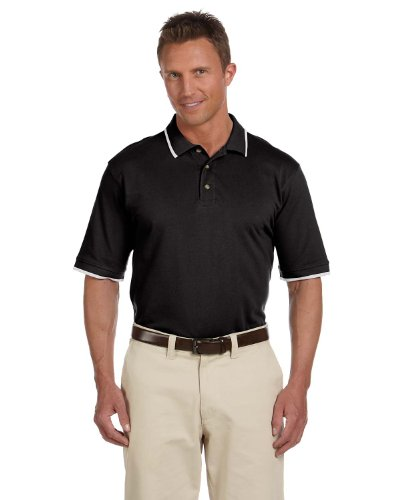 Harriton Men's Tipping Pique Polo Shirt, BLACK/WHITE, X-Large