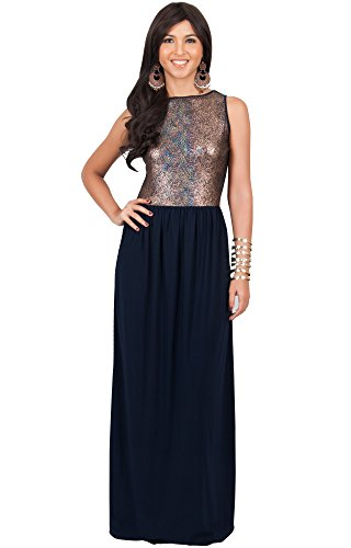 KOH KOH Plus Size Womens Long Sleeveless Party Cocktail Special Evening Gown Maxi Dress, Color Gold & Navy Blue, Size 3X Large / 3XL / 22-24