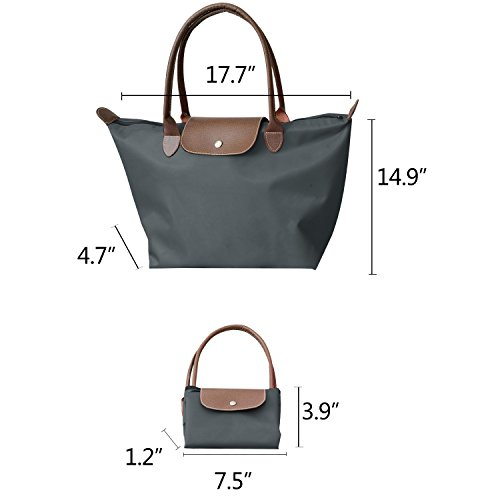 Beach Tote Bag Travel Stylish Waterproof Shoulder NOTAG Folding Grey Casual Handbag Nylon Tote Zipper With Bag wnfwqzxB
