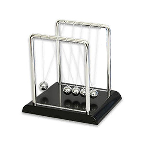 Newton's Cradle Kit - Physics Balance Balls - 7 inch by 5 inch Science Display - Executive Office Newton's Pendulum with 5 Metal Balls by Newtons cradle