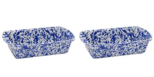 Crow Canyon - Set of 2 Enamelware 1.5 Quart Loaf Pans - Each Pan is 9 Inches Long by 5 Inches Wide by 2.5 Inches Tall (Blue Marble) from Crow Canyon Home