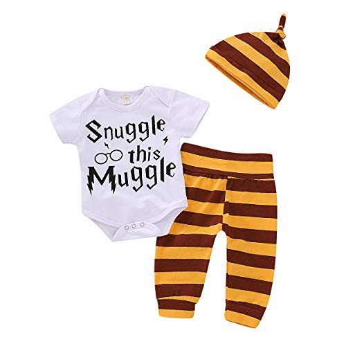 Baby Boys' 3-Piece Long or Short Sleeve Bodysuit Shirt Pants and Hat Clothes Set (Yellow, 6-12 ()