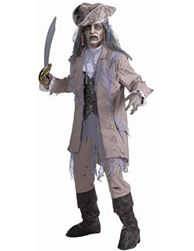 Men's Zombie Pirate Ghost Costume, Gray/Beige, One Size -