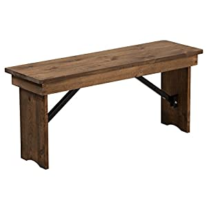 "Flash Furniture HERCULES 40"" x 12"" Antique Rustic,Solid Pine Folding Farm Bench"
