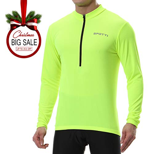 Spotti Mens Long Sleeve Cycling Jersey, Bike Biking Shirt- Breathable and Quick Dry (Chest 44-46 - 2XL)