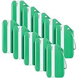 Travelambo Luggage Tags & Bag Tags Stainless Steel Aluminum Various Colors (green 10 pcs set)