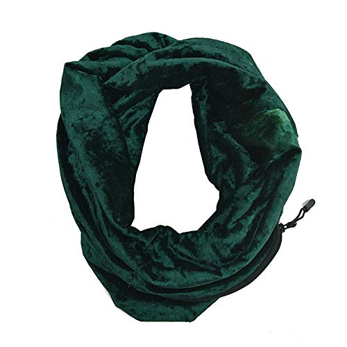 CHIDY Scarves Unisex Winter Velvet Warm Loop Zipper Secret Pocket Infinity Scarf Shawl Ring(Green)