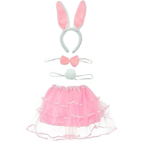 BAOBAO 4pcs Kids Rabbit Bunny Ears Headband Bow Tie Tail Dress Set Cosplay Costume ()