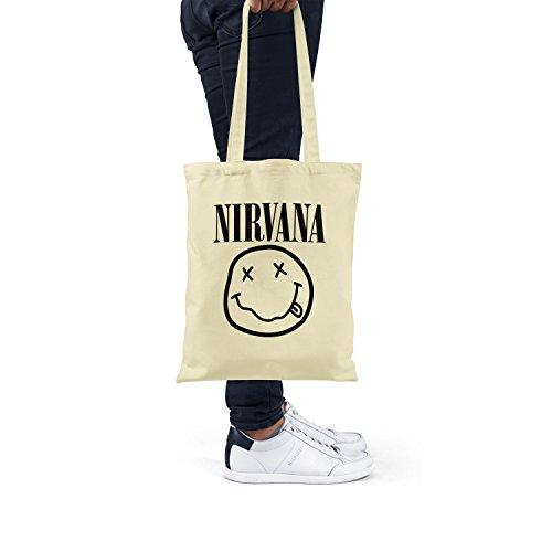 "Bolsa de tela ""Nirvana"" - tote bag shopping bag 100% algodón LaMAGLIERIA, Natural"