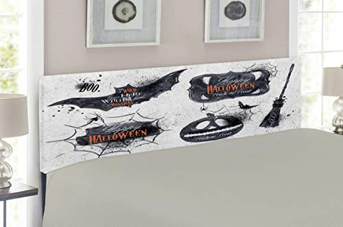 Lunarable Vintage Halloween Headboard for Full Size Bed, Halloween Symbols Happy Holiday Witch Lives Here Broomstick Spider Web, Upholstered Decorative Metal Headboard with Memory Foam, Black White