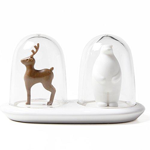 Sansukjai Deer and Bear, Salt and Pepper Grinder, Peppermill, Plastic Grinder, Kitchen Decor Outside Christmas Decorations Ideas Pinterest