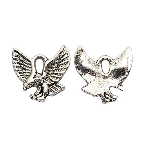 ARRICRAFT 100pcs Antique Silver Alloy Pendants Metal Beads Eagle Charms Jewelry Finding for Necklace Bracelet Earring Jewelry ()