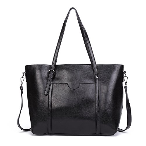Dreubea Women's Soft Leather Handbag Big Capacity Tote Shoulder Crossbody Bag Upgraded Black (Leather Bag Tote Shoulder)