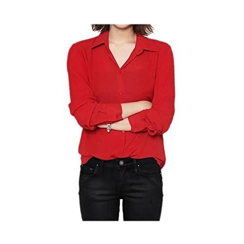 fc598ebea7c ARJOSA Women s Chiffon Long Sleeve Button Down Casual Shirt Blouse Top  delicate