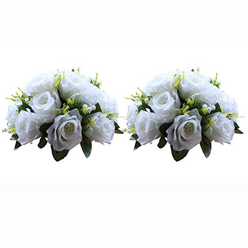 Sfeexun Pack of 2 Fake Flower Ball Arrangement Bouquet,15 Heads Plastic Roses with Base, Suitable for Our Stores Wedding Centerpiece Flower Rack for Parties Valentines Day Home D