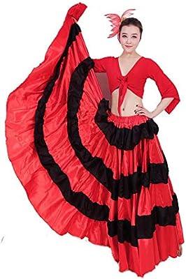 ZYLL Falda Taurina Roja Negra Española para Mujer Traje De Salón ...
