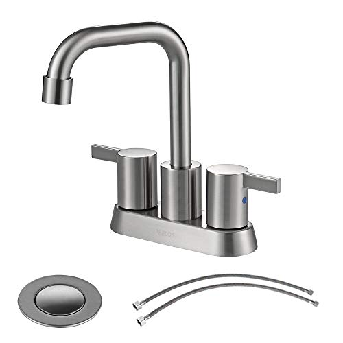 PARLOS 2 Handles Bathroom Faucet Brushed Nickel with Pop-up Drain and Faucet Supply Lines, 1431602 4 Centers Bathroom Faucet