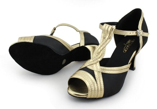 Abby Q-6124 Womens Litin Shoes Ballroom Dance Party 2.4/ 3 Flared Heel Black RVYhlRoI3h
