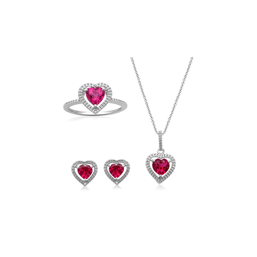 Jewelili Sterling Silver Heart Shape Created Ruby and Diamond Accent Ring, Stud Earrings and Pendant Necklace Box Set