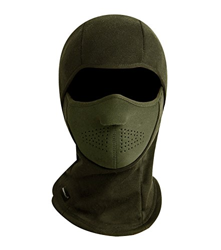 Zerdocean Winter Windproof Fleece Full Face Motorcycle Ski Mask Balaclava Army Green