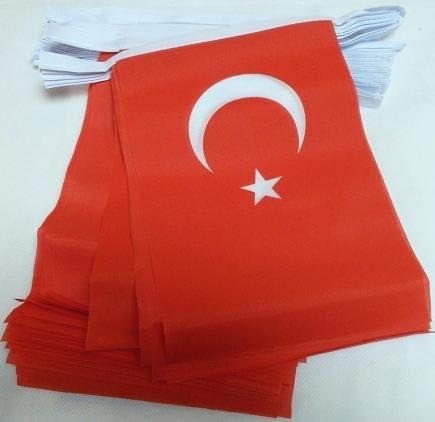 AZ FLAG Guirnalda 6 Metros 20 Banderas de TURQUÍA 21x15cm - Bandera TURCA 15 x 21 cm - BANDERINES: Amazon.es: Hogar